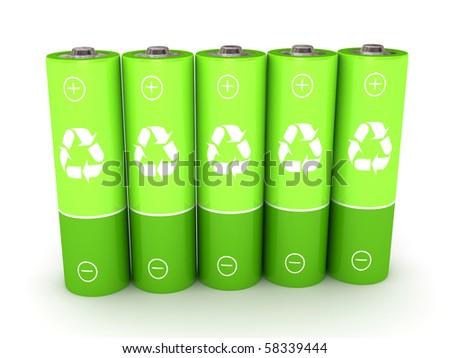 Green battery over white background. 3d rendered image - stock photo