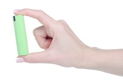 Green 18650 battery power in hand on white background isolation