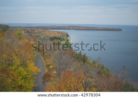 green bay and sturgeon bay in door county of wisconsin from atop observation tower in potawatomi statepPark