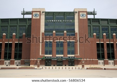 GREEN BAY, WISCONSIN - APRIL 23: Historic Lambeau Field, home of the Green Bay Packers and also known as The Frozen Tundra, on April 23, 2010 in Green Bay, Wisconsin. - stock photo