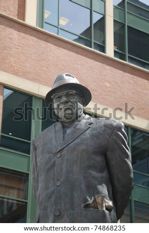 GREEN BAY, WISCONSIN - APRIL 23: Statue of Vince Lombardi at Lambeau Field on April 23, 2010 in Green Bay, Wisconsin. The statue was unveiled in 2003 to honor Lombardi at a newly renovated Lambeau.