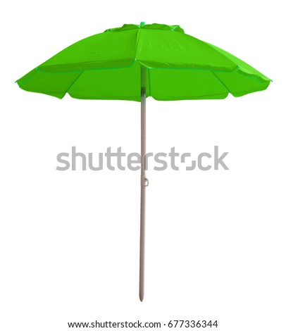 Green beach umbrella isolated on white. Clipping path included. #677336344