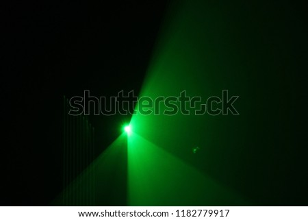 green beam  laser beam on dark background #1182779917
