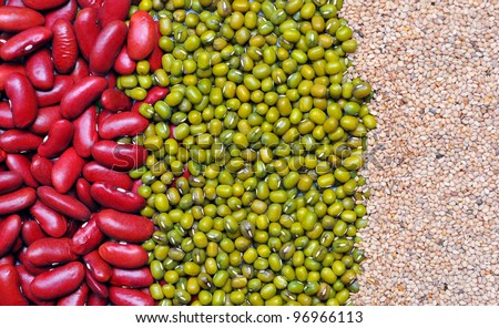 Green bean, red bean and white sesame seed background. Agriculture product, cereal, food.