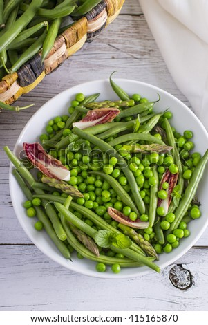 Green Bean Salad with Endive, Peas, and Mint #415165870