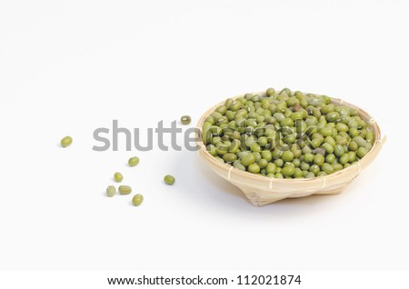 Green Bean (Vigna radiata (L.) R. Wilcz) on white background