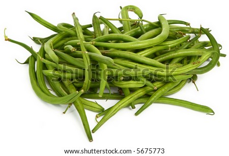 green beans against white background, minimal natural shadow in front