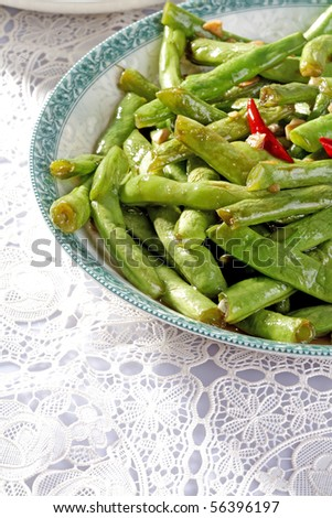 Green Beans and Garlic in the plate