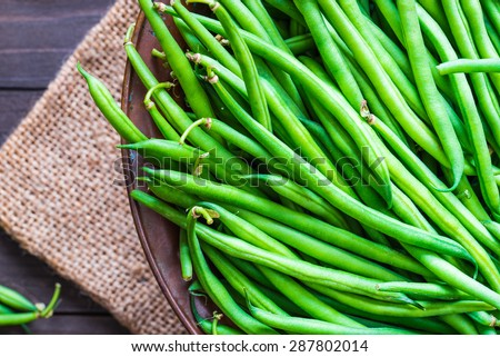 Green beans close up top view. Stockfoto ©