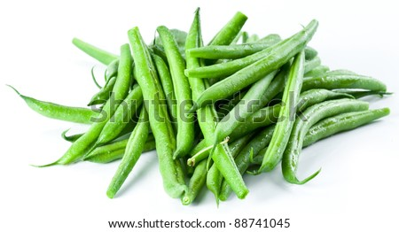 Green beans isolated on a white background. Stockfoto ©