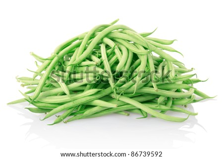 Green beans isolated on white, clipping path included