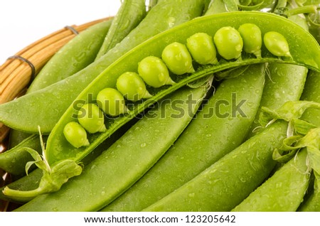 Green beans  on a white background