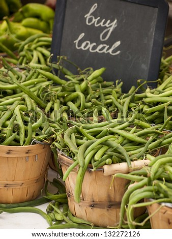 Green beans peppers at the local farmer's market.