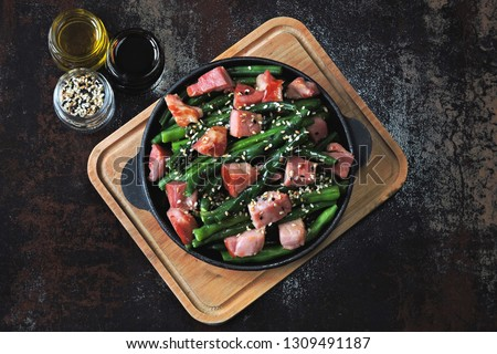 Green beans with bacon in a cast iron skillet. Healthy eating concept. Keto diet. Pegan diet. Paleo diet. #1309491187