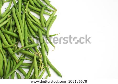 Green beans with place for text