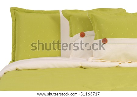 Green bed. Isolated