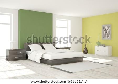 Green bedroom. Scandinavian interior design. 3D illustration #568861747