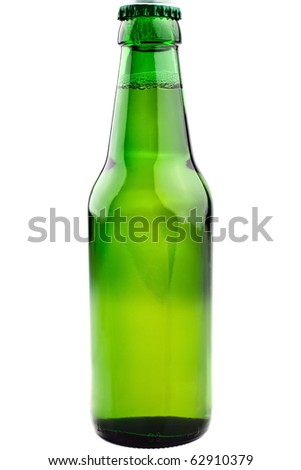 green beer bottle, completely isolated on white