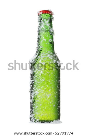 Green beer bottle isolated with snow effect