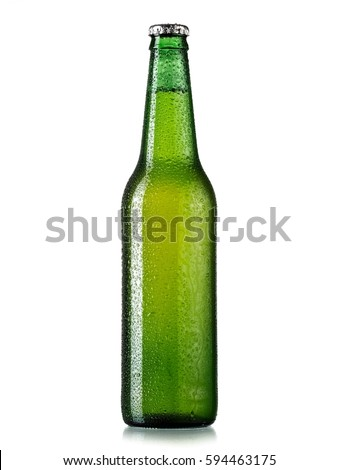 Green beer bottle with drops - Shutterstock ID 594463175