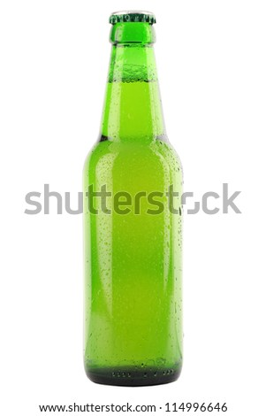 Green beer bottle with waterdrops isolated on white background - stock photo