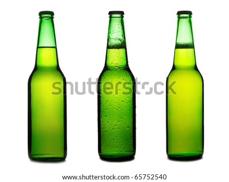 Green beer bottles set isolated on a white background