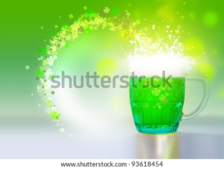 Green beer for St Patrick day on a green background