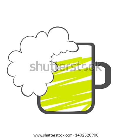 Green beer mug with full foam. Brewery clip art isolated on white background