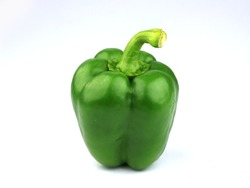 Green bell pepper isolated on white background,sweet pepper,Capsicum annuum Group
