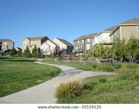 Green Belt Between Tract Homes in Colorado