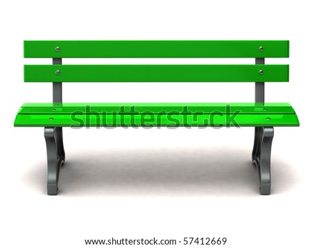 Green bench on white background