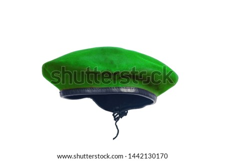Green beret hat on isolate background.
