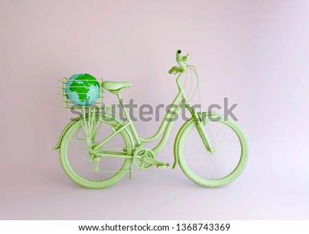 Green bicycle and world in basket, Creative idea layout, minimal concept, environment preserve on earth day.  3d illustration.