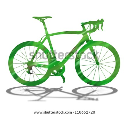 Green bicycle silhouette on white with shadow.