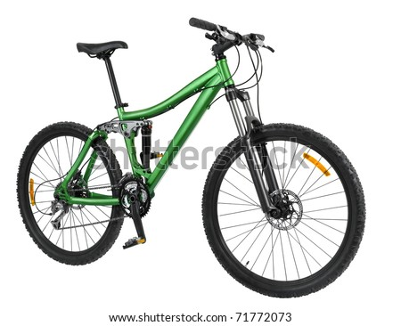 Green bike detail isolated on black background