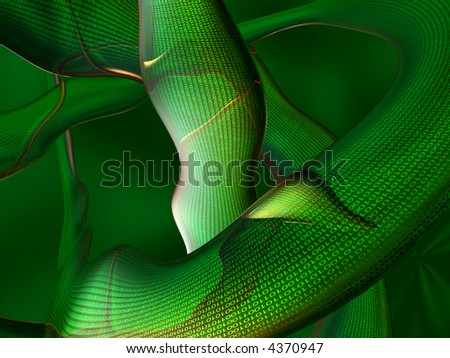 Green binary abstract 3d render