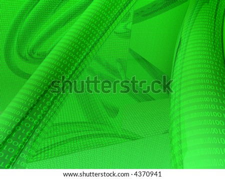 Green binary cables 3d render