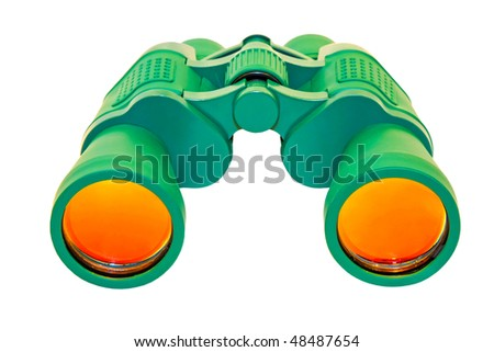 Green binoculars instrument isolated included clipping path #48487654