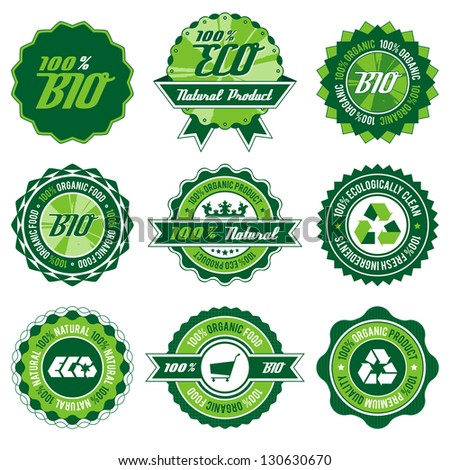 green bio, eco, organic label set with differently varied modern, vintage elements