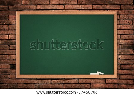 green blackboard on wall background.