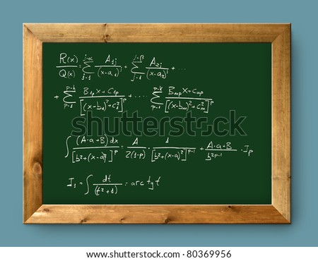 green blackboard with written difficult mathematical integral formula [Photo Illustration]