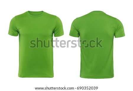 Green blank t shirt template isolated on white with clipping path. #690352039