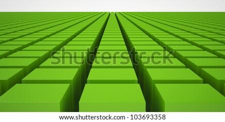 Green Blocks Background, over White Background.
