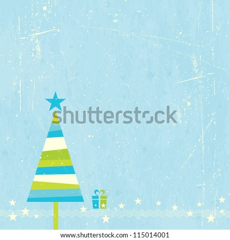 Green, blue and off-white striped Christmas tree with present and star border on blue grunge background.