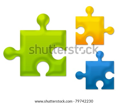 green, blue and orange metallic puzzle isolated over white background