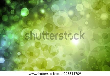 green blue background bokeh lights, circle bubble shape white lights design
