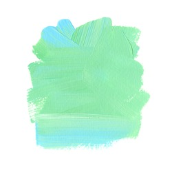Green-blue brush stroke acrylic paint abstract art design. Messy pained background. Image.