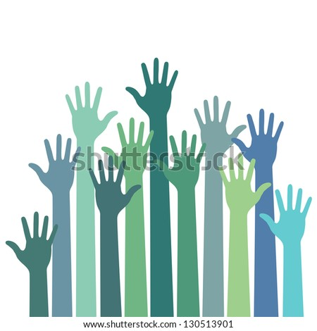 green - blue colorful up hands, raster illustration