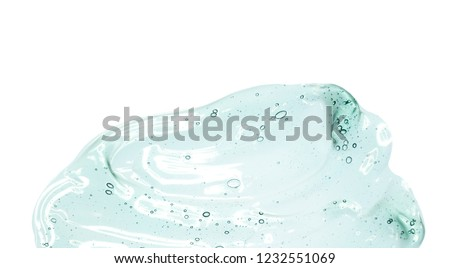 Green blue cosmetic gel white background isolated