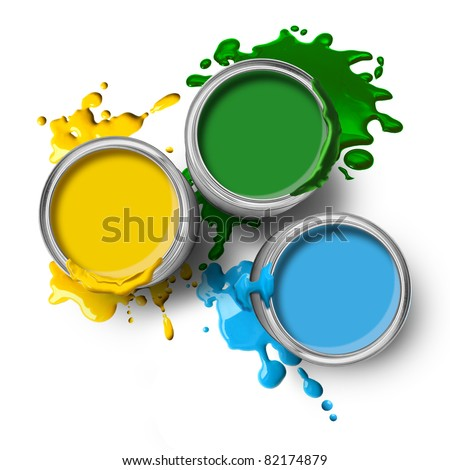 Green blue yellow color paint cans with splashes on white background